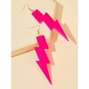 NWT Neon Lightning Bolt Statement Earrings